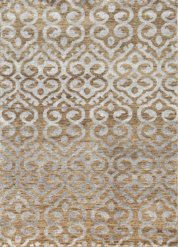 eden beige and brown wool and viscose hand knotted Rug - HeadShot