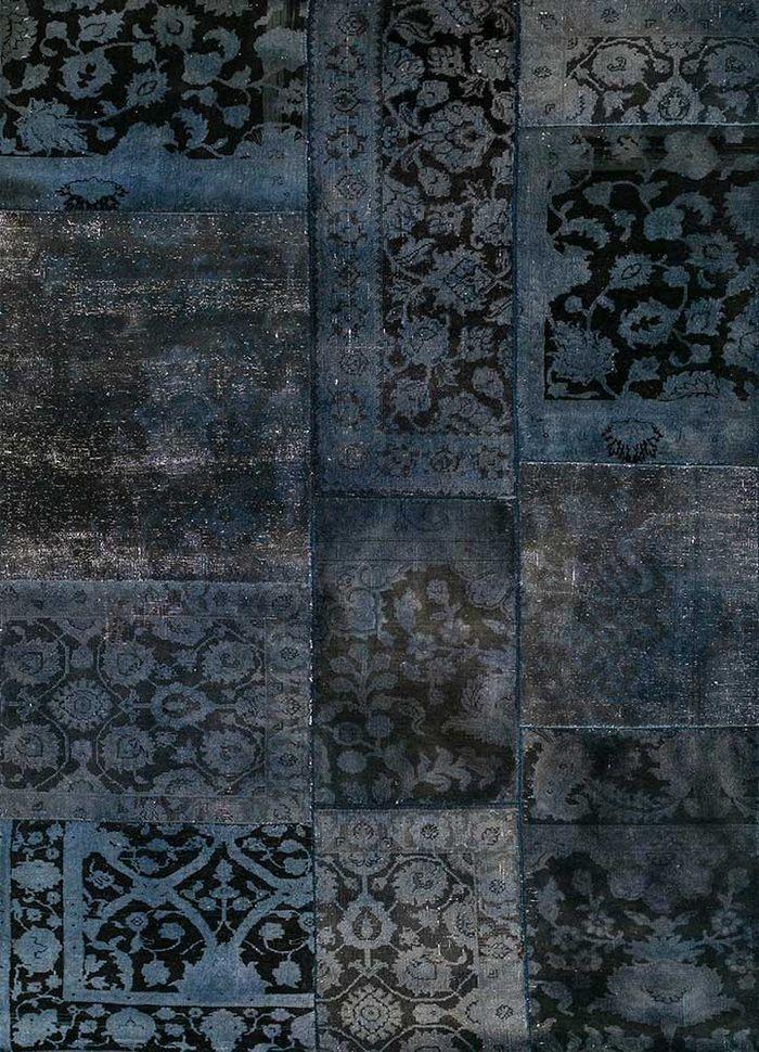 aprezo blue wool patchwork Rug - HeadShot