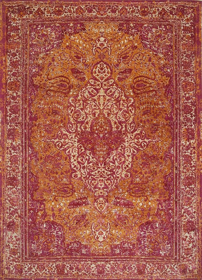free verse by kavi red and orange wool and silk hand knotted Rug - HeadShot
