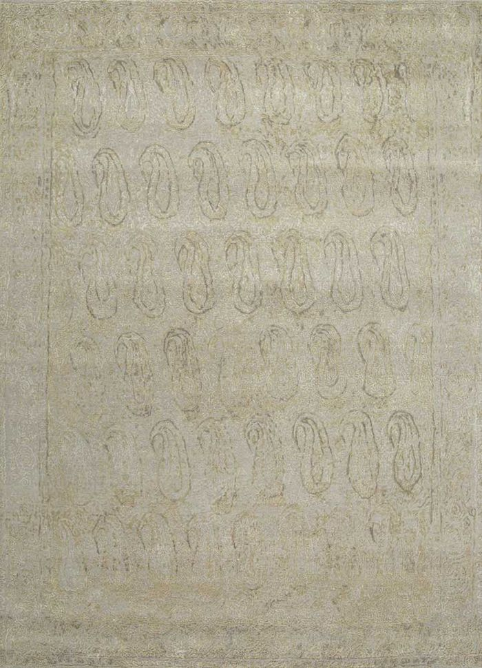 free verse by kavi grey and black wool and silk hand knotted Rug - HeadShot