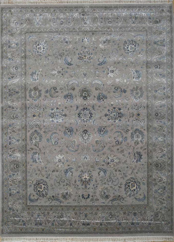 aurora grey and black wool and silk hand knotted Rug - HeadShot