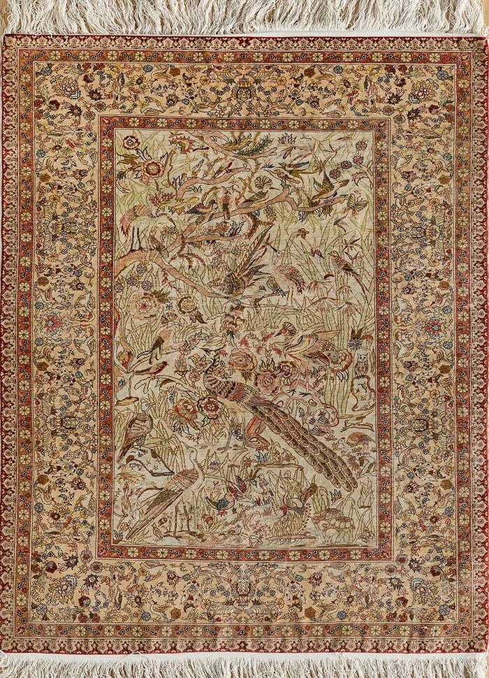 antique red and orange silk hand knotted Rug - HeadShot