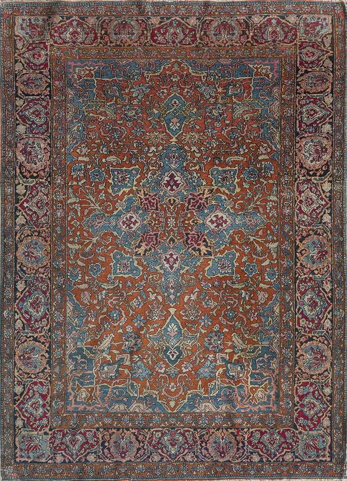 antique red and orange wool hand knotted Rug - HeadShot