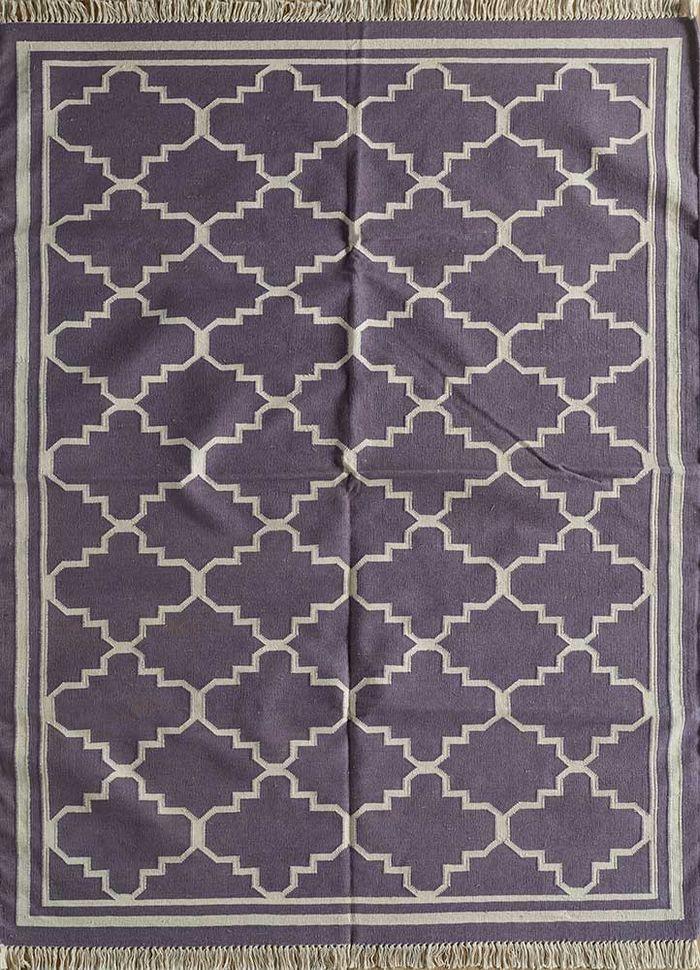indusbar pink and purple cotton flat weaves Rug - HeadShot