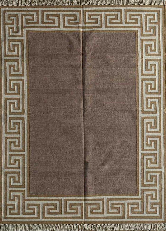 indusbar beige and brown cotton flat weaves Rug - HeadShot