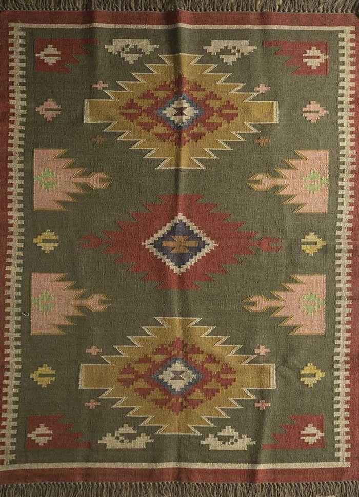 bedouin green jute and hemp flat weaves Rug - HeadShot