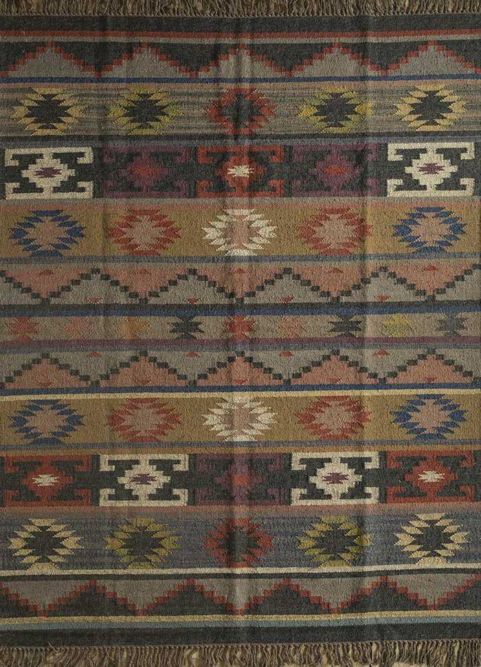 bedouin grey and black jute and hemp flat weaves Rug - HeadShot