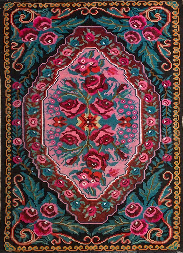 kilim pink and purple wool hand knotted Rug - HeadShot