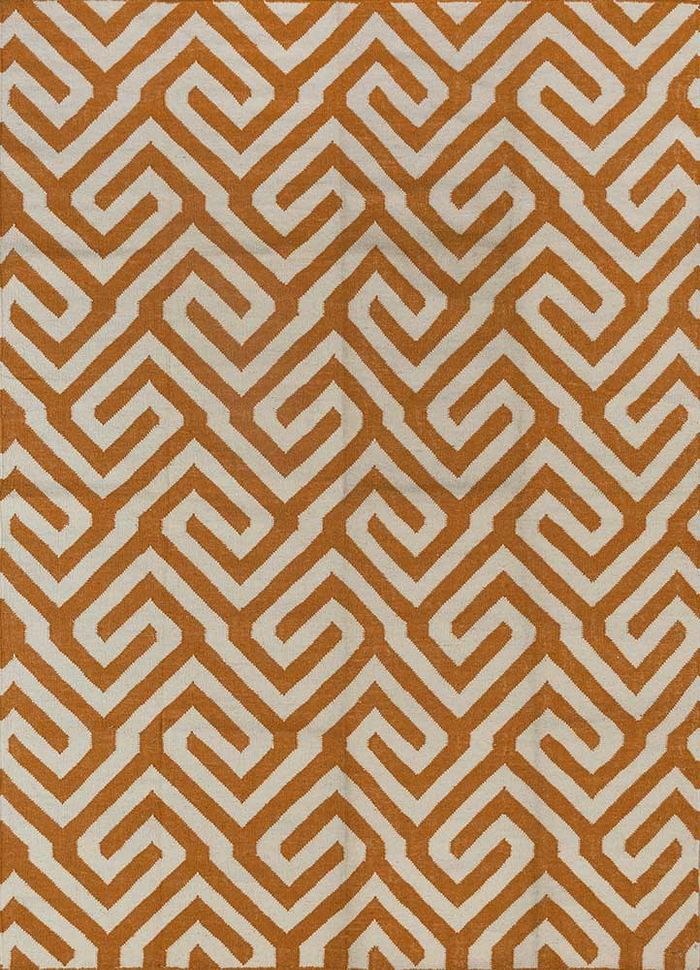 anatolia red and orange wool flat weaves Rug - HeadShot