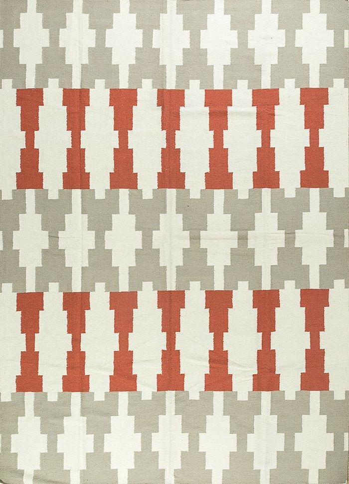 anatolia beige and brown wool flat weaves Rug - HeadShot