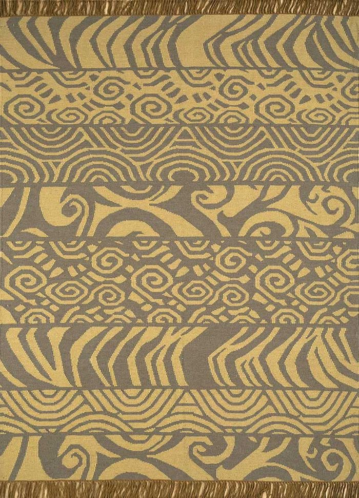 aqua gold wool flat weaves Rug - HeadShot