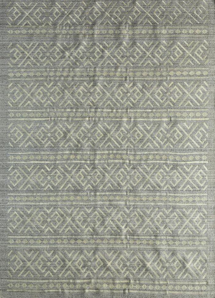souk beige and brown wool and viscose flat weaves Rug - HeadShot
