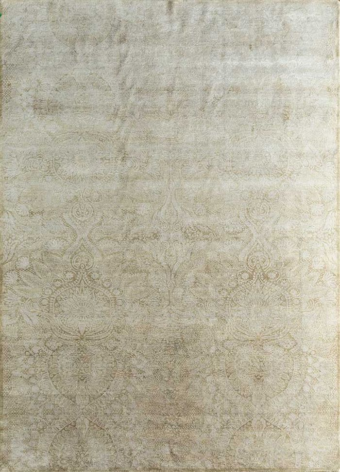 floret ivory wool and silk hand knotted Rug - HeadShot