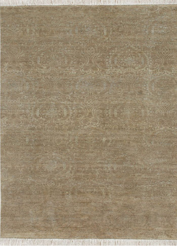 floret beige and brown wool and silk hand knotted Rug - HeadShot