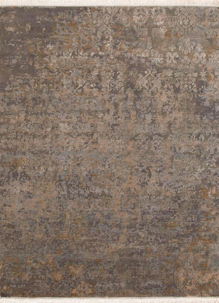 blithe grey and black wool and silk hand knotted Rug - HeadShot