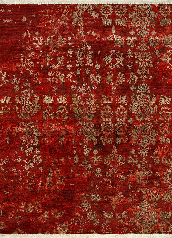 blithe red and orange wool and silk hand knotted Rug - HeadShot