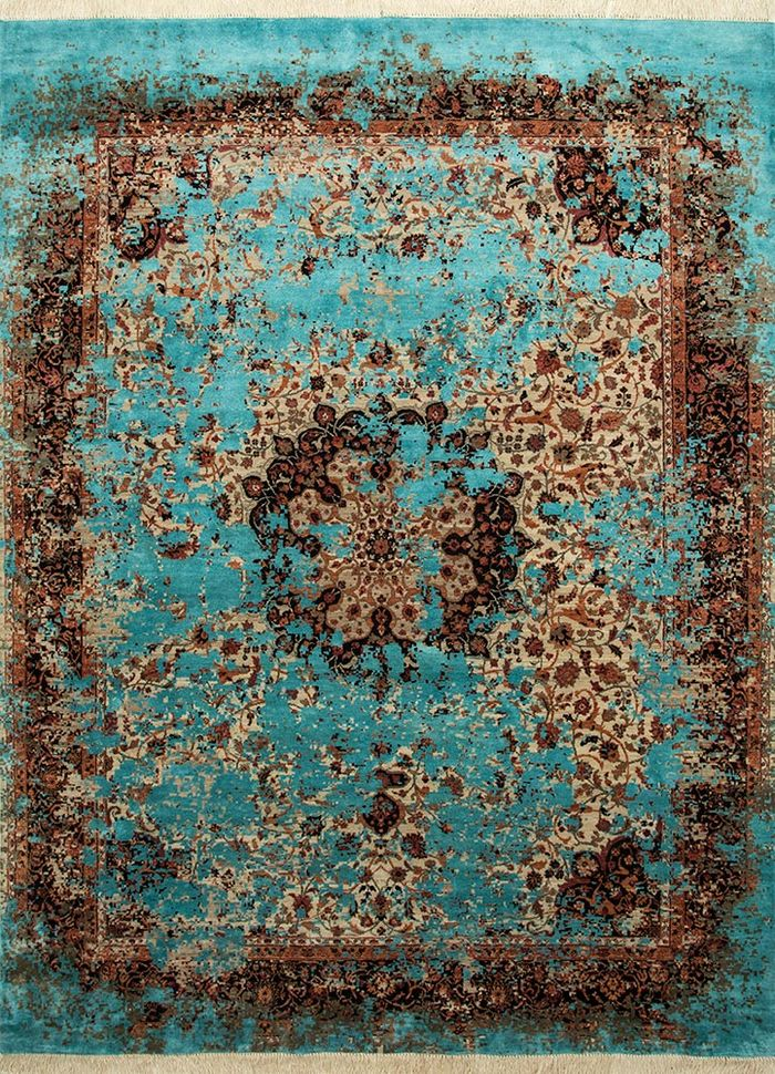 far east beige and brown wool and silk hand knotted Rug - HeadShot