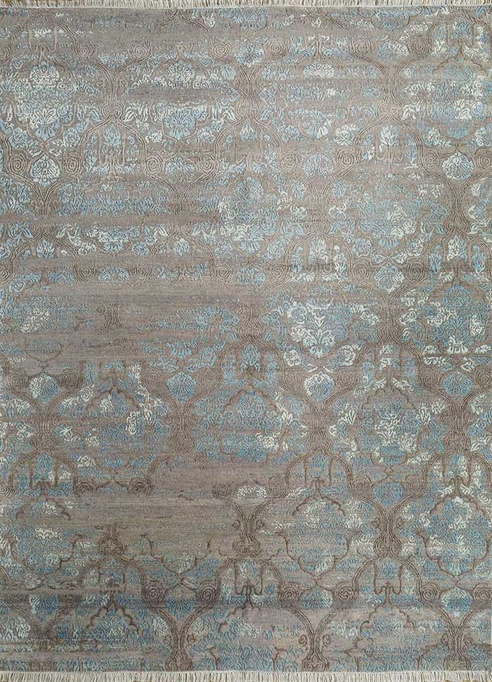 floret beige and brown wool and bamboo silk hand knotted Rug - HeadShot