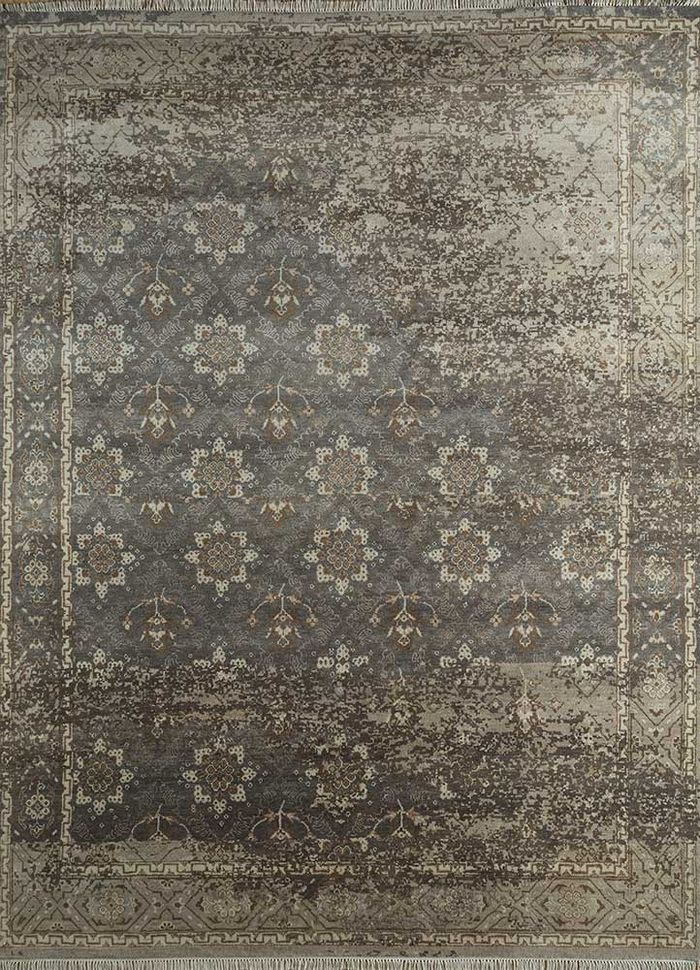 blithe grey and black wool and bamboo silk hand knotted Rug - HeadShot