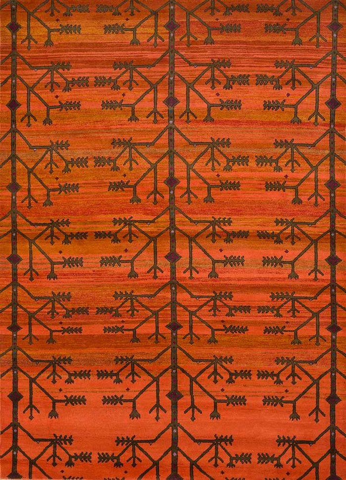 mezcla red and orange wool hand knotted Rug - HeadShot