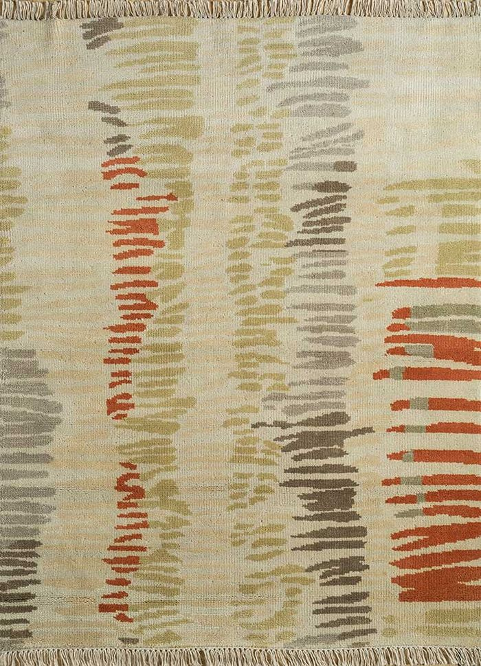 esme gold wool hand knotted Rug - HeadShot