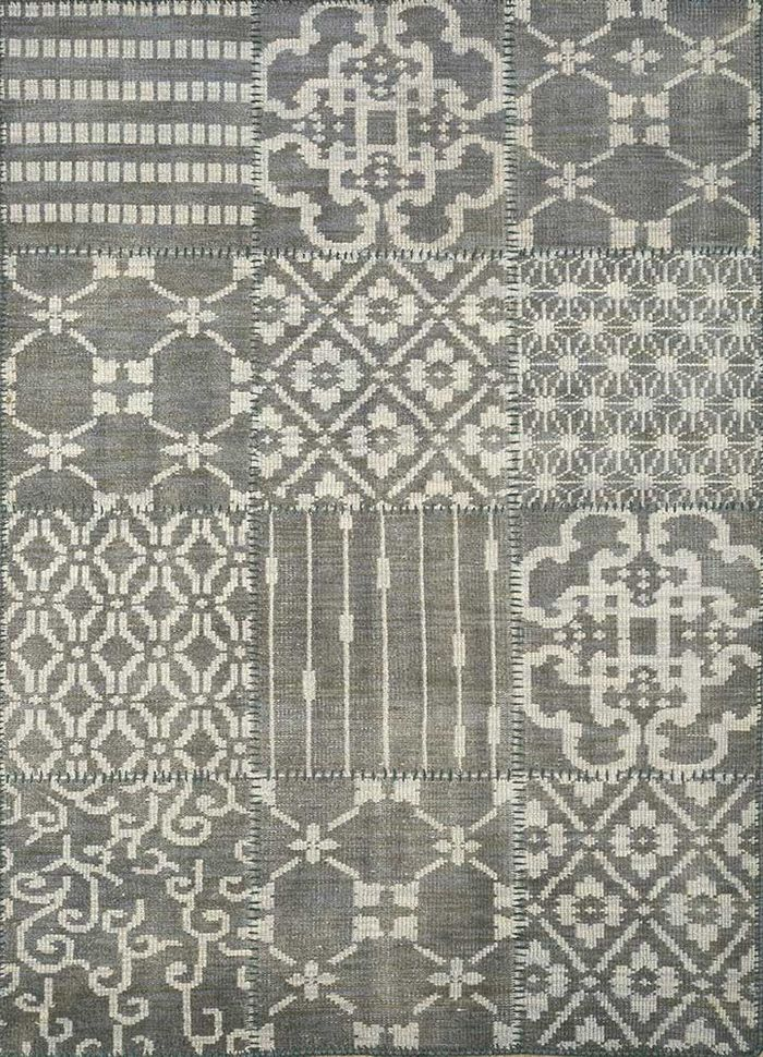 provenance green wool hand knotted Rug - HeadShot