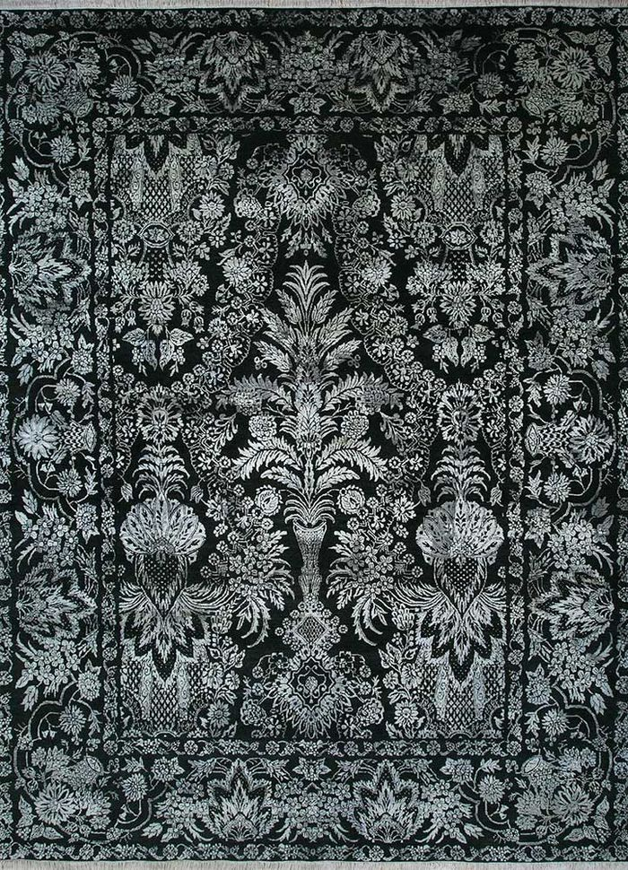floret green wool and silk hand knotted Rug - HeadShot