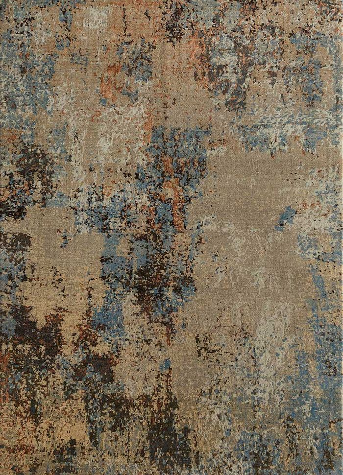 memoir beige and brown wool and silk hand knotted Rug - HeadShot
