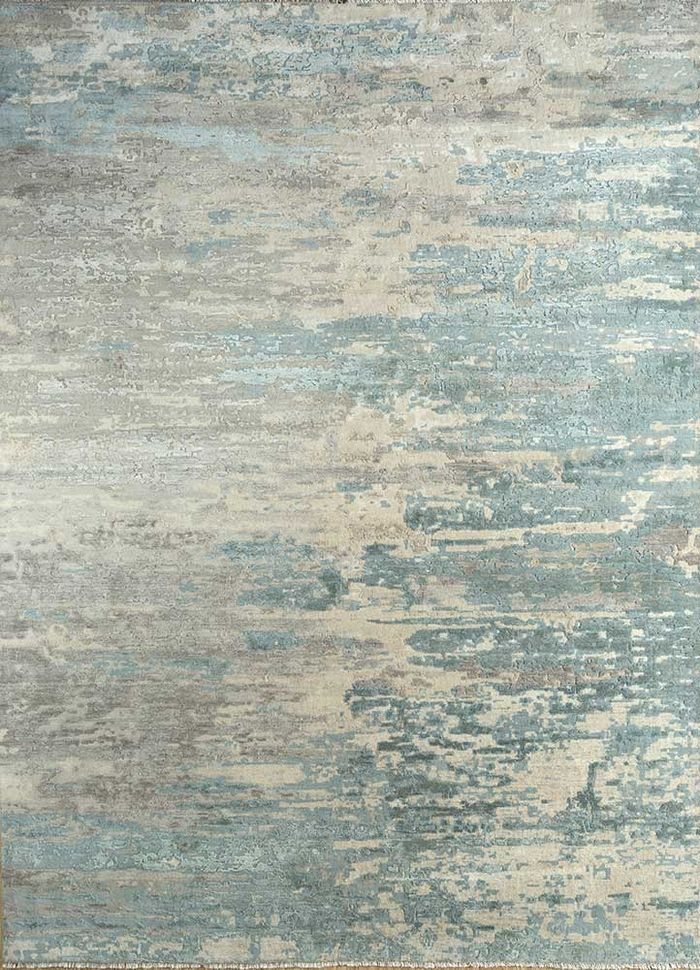 kibrast grey and black wool and silk hand knotted Rug - HeadShot