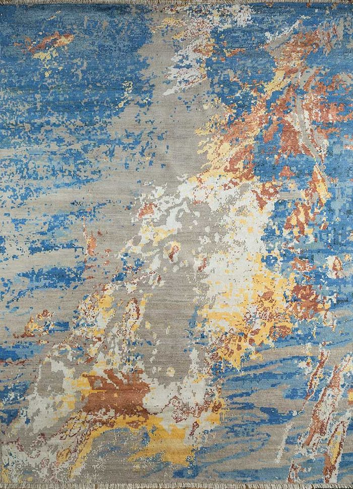 pansy blue wool and viscose hand knotted Rug - HeadShot