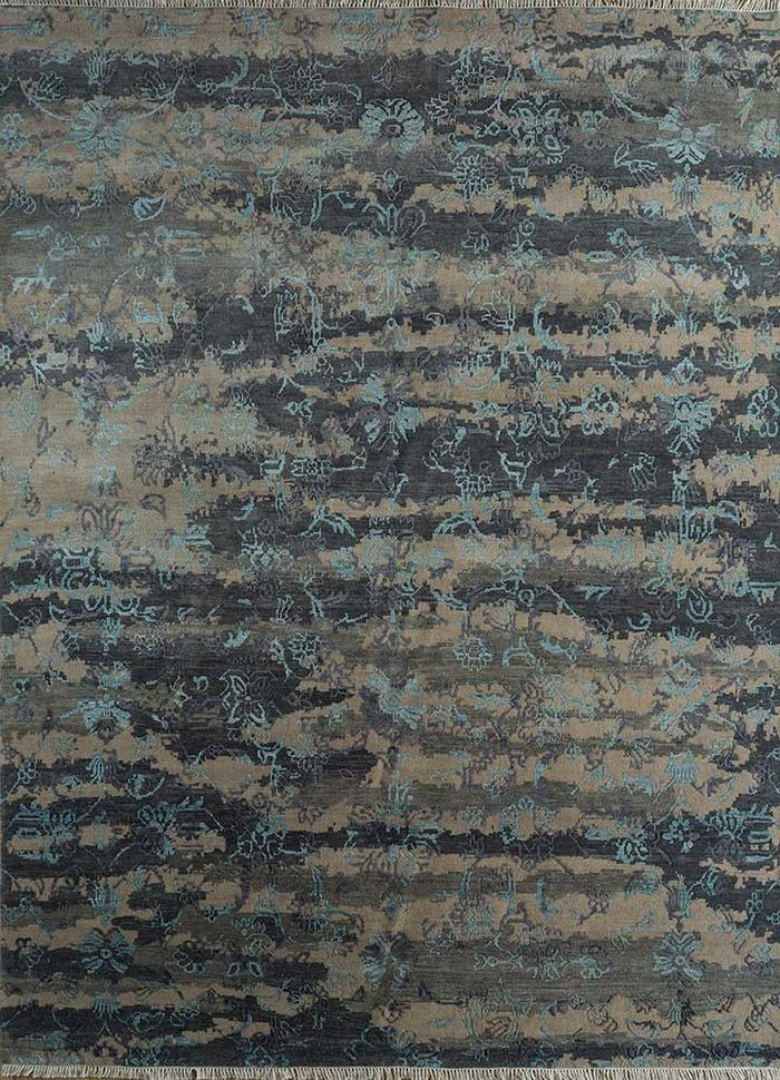blithe blue wool and viscose hand knotted Rug - HeadShot