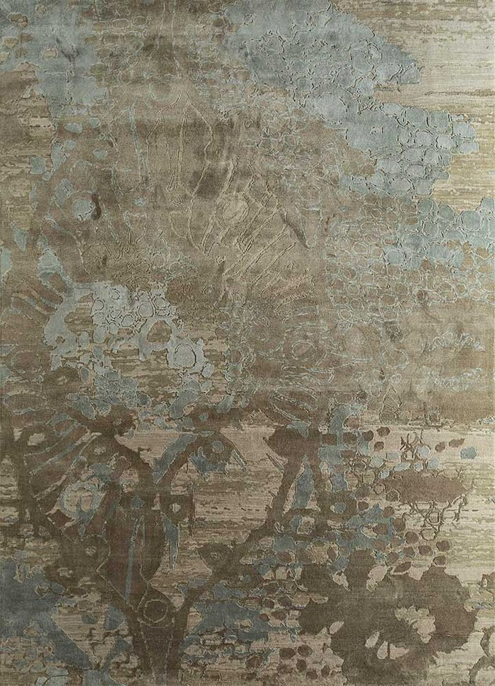 pansy beige and brown wool and silk hand knotted Rug - HeadShot