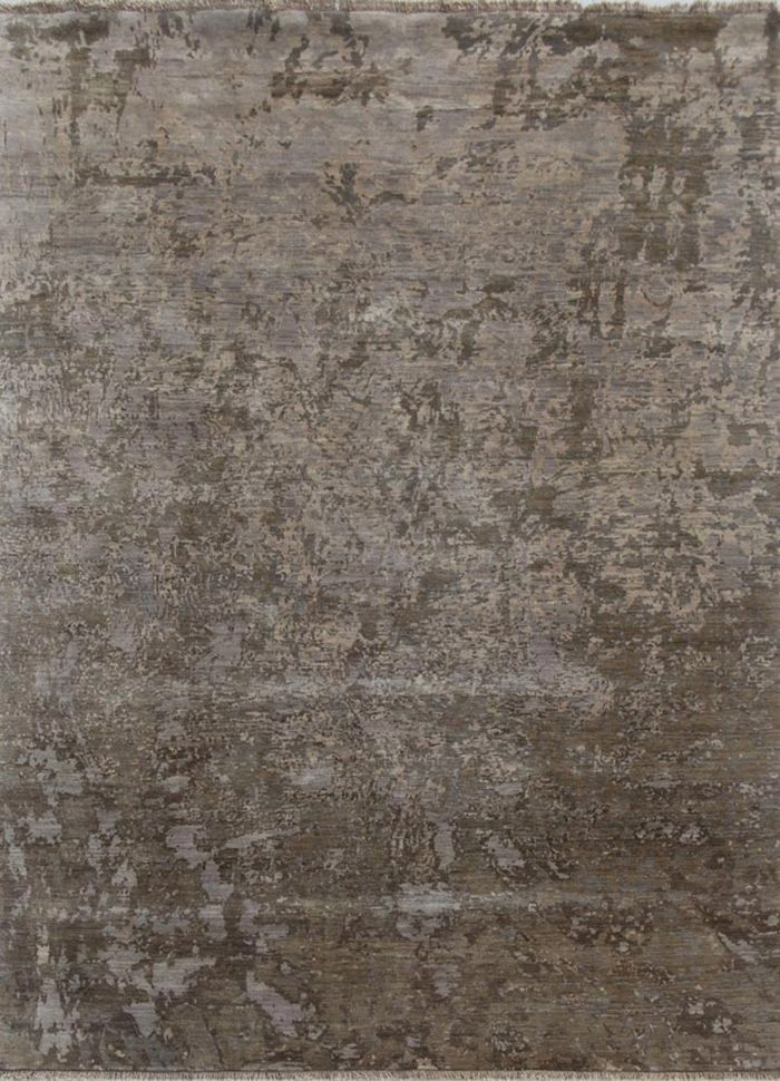 pansy grey and black wool hand knotted Rug - HeadShot