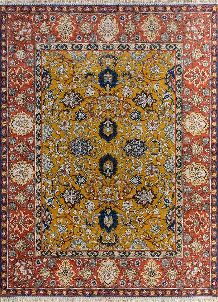 biscayne gold wool hand knotted Rug - HeadShot
