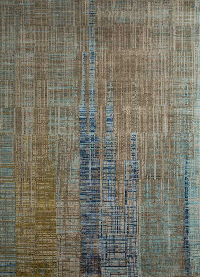 unstring by kavi beige and brown wool and bamboo silk hand knotted Rug - HeadShot