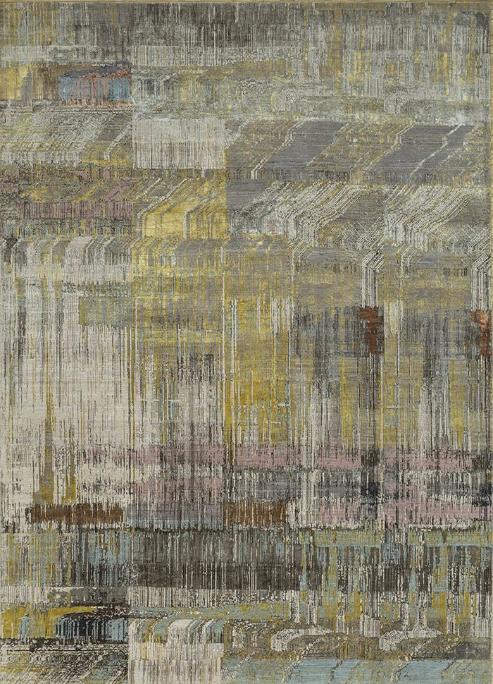 unstring by kavi grey and black wool and bamboo silk hand knotted Rug - HeadShot