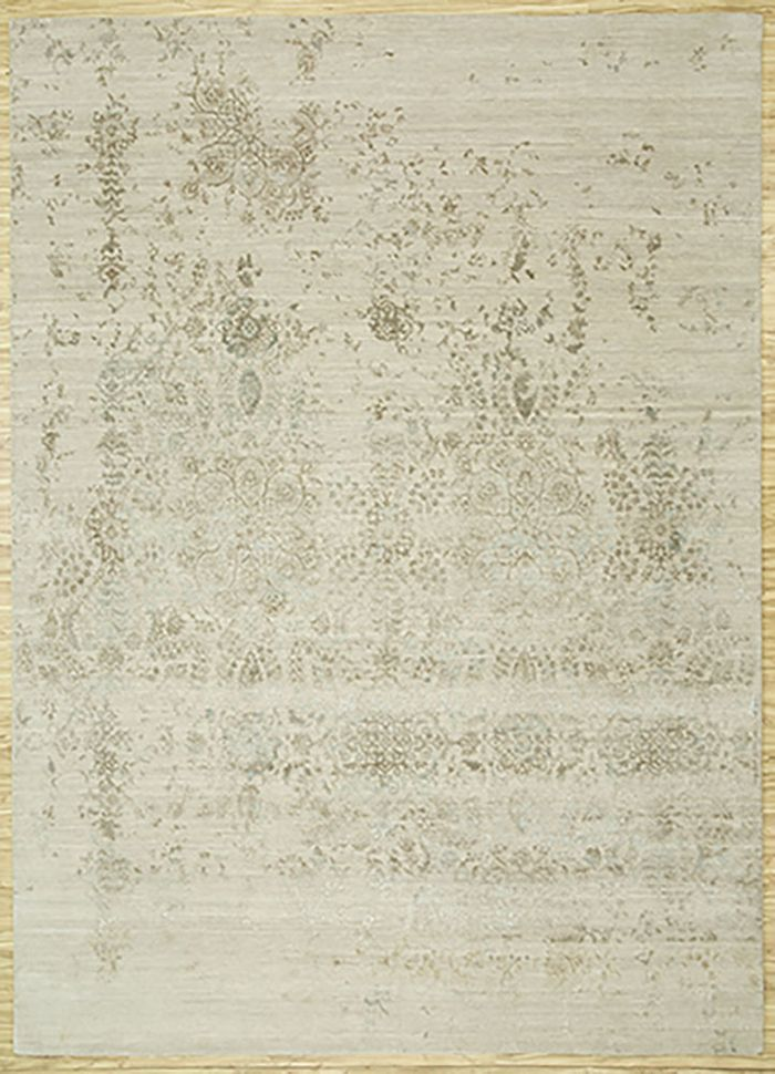 blithe ivory wool and bamboo silk hand knotted Rug - HeadShot