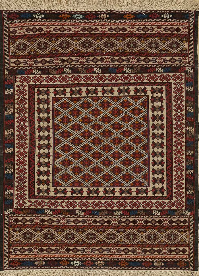 vintage beige and brown wool hand knotted Rug - HeadShot