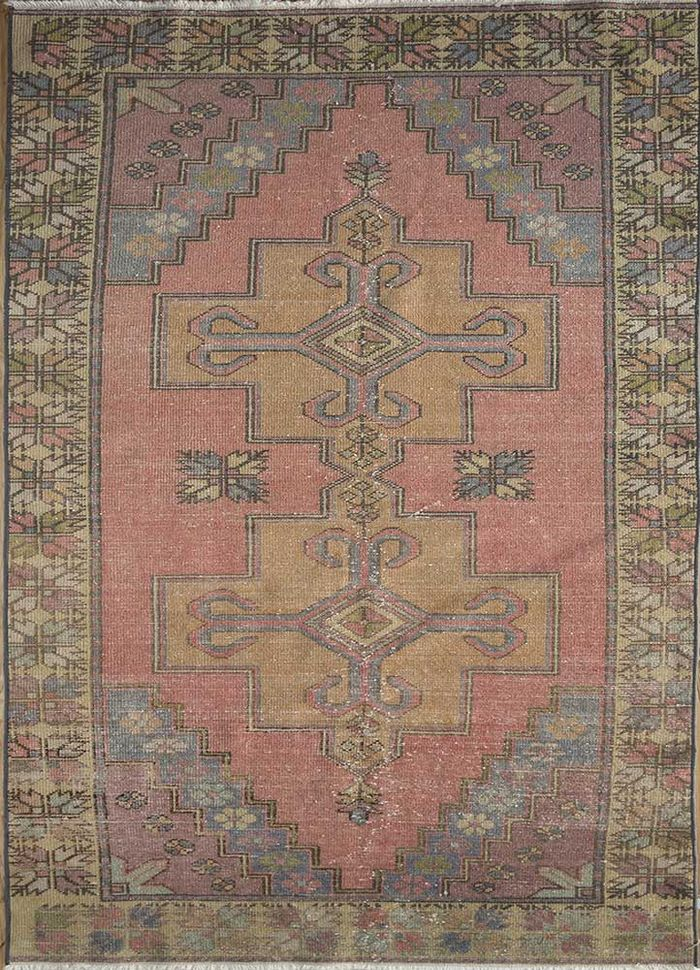 vintage pink and purple wool hand knotted Rug - HeadShot