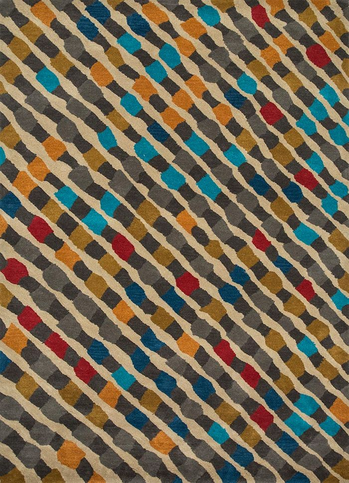 confetti beige and brown wool hand tufted Rug - HeadShot