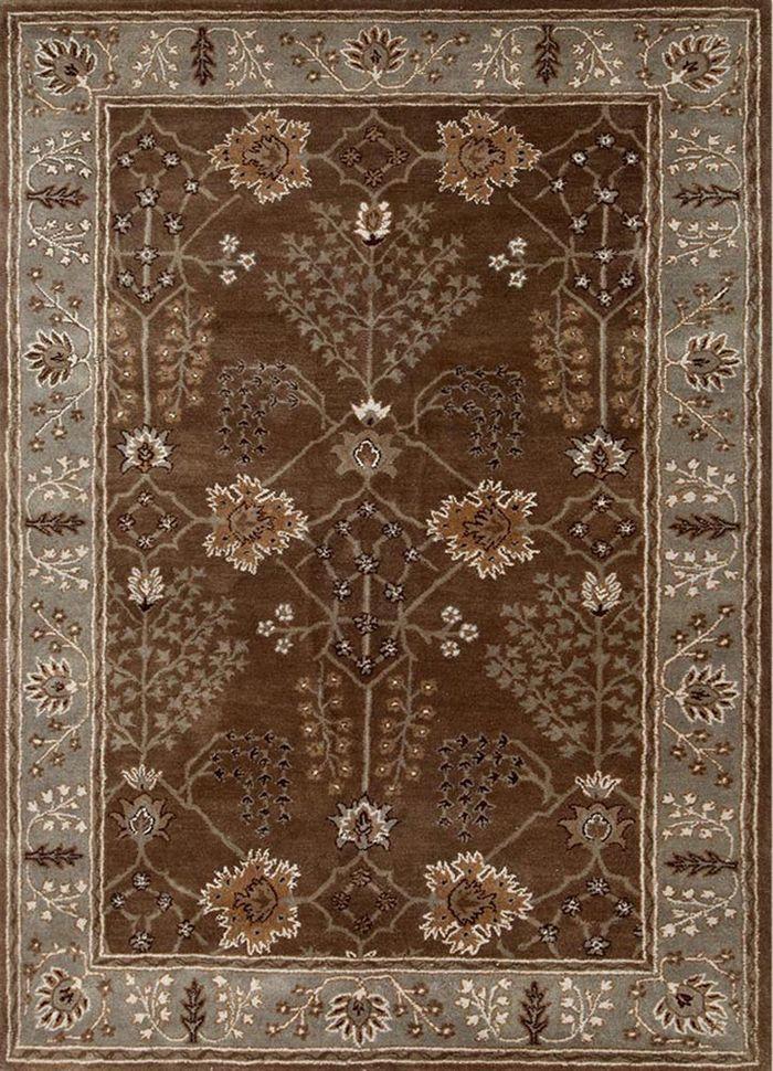 mythos beige and brown wool hand tufted Rug - HeadShot