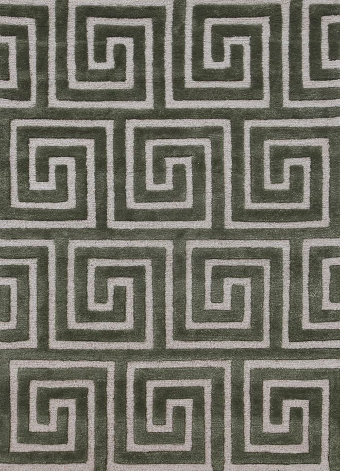 contour green wool and viscose hand tufted Rug - HeadShot