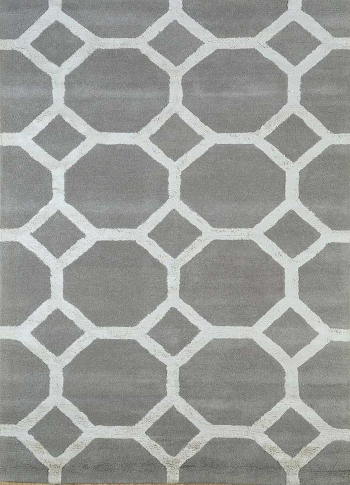 contour grey and black wool and viscose hand tufted Rug - HeadShot