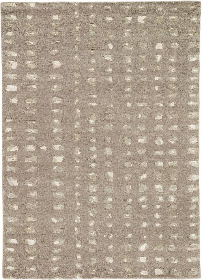 transcend grey and black wool and viscose hand tufted Rug - HeadShot