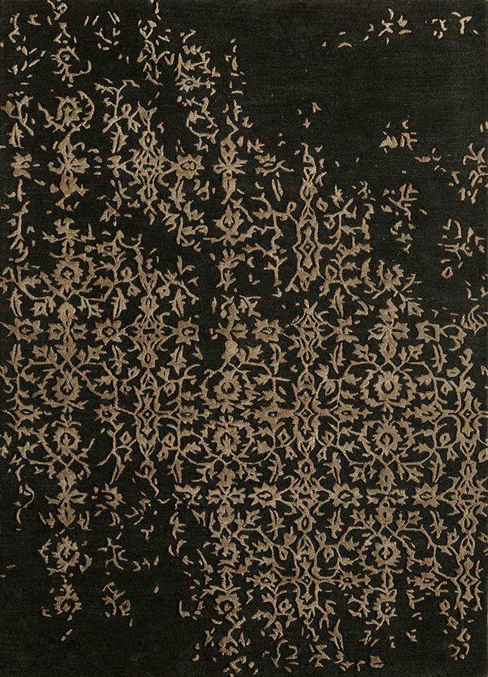 kilan grey and black wool and viscose hand tufted Rug - HeadShot