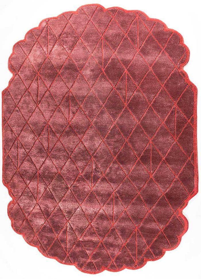 jaipur wunderkammer red and orange wool and viscose hand tufted Rug - HeadShot