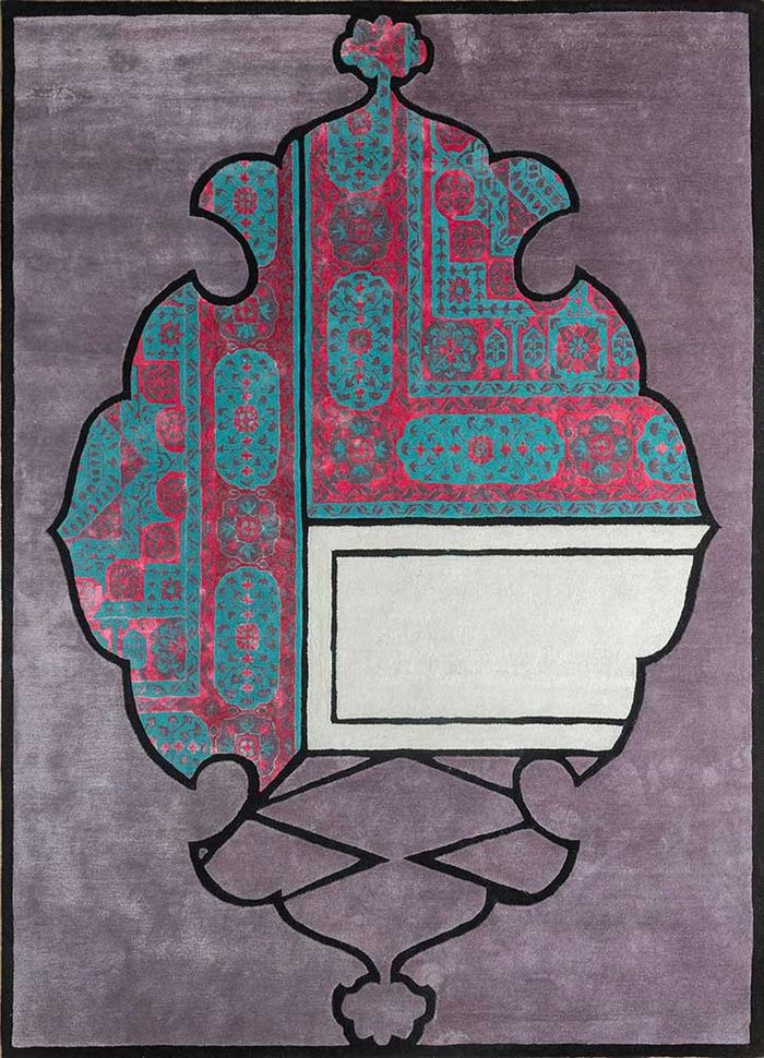 concoction pink and purple wool and viscose hand tufted Rug - HeadShot
