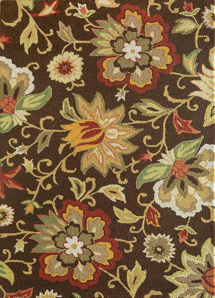hacienda beige and brown wool hand tufted Rug - HeadShot