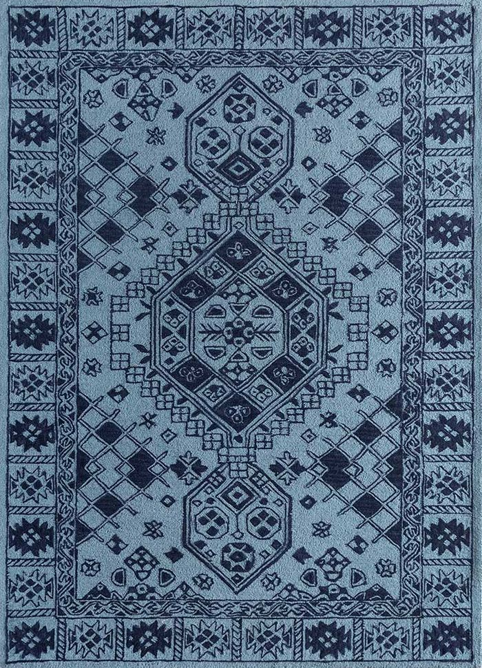 mythos blue wool hand tufted Rug - HeadShot