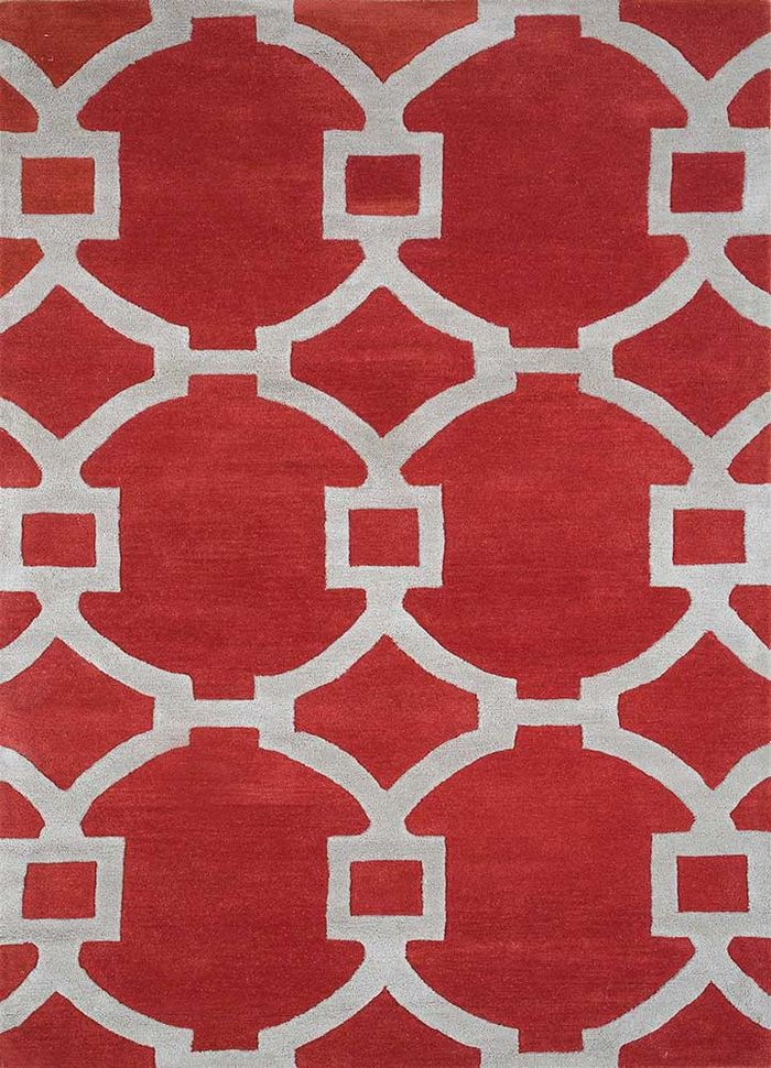contour red and orange wool hand tufted Rug - HeadShot